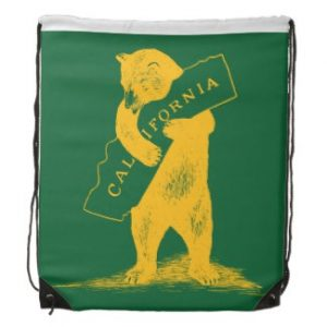 I Love You California--Green and Gold Drawstring Bags